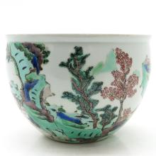 China Porcelain Polychrome Decor Fish Bowl