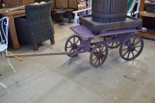 Antique French pull along four wheel cart. Approx 55cm H 100cm x 68cm W