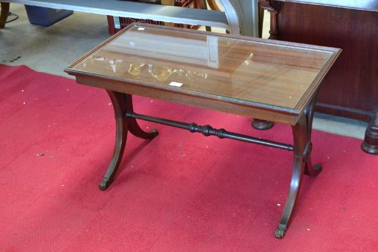 Stylish x frame rectangular coffee table approx 50cm h x 83 for Coffee tables 50cm wide