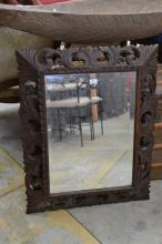Antique French carved cushion mirror, approx 90cm H x 72cm W