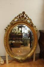 Fine Antique French gilt surround oval mirror