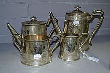Willow pattern silver plated tea and coffee set,