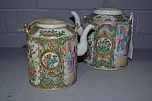 Two antique Chinese Famille rose porcelain teapots