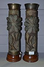 Pair of WWI Trench art vases, with fitted wooden