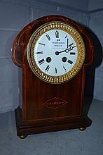 Antique Art Nouveau inlaid clock, no key or
