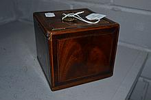 Small antique square form tea caddy, approx 11cm H