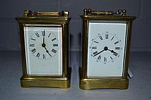 Two brass carriage clocks, one French, no keys or