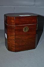 Antique octagonal tea caddy, no key, approx 13cm H