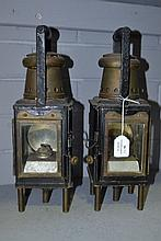 Two metal & brass carriage lamps, each approx 36cm