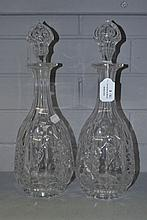 Pair of antique cut crystal decanters, approx 37cm