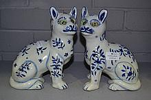 Two Galle Style blue & white cats, approx 21.5cm H