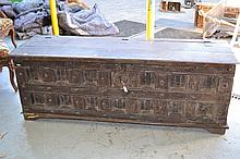 Long trunk with carved panel front, approx 60cm H