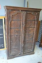 Carved two door cabinet, approx 166cm H x 110cm W