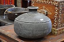 Metal pot, approx 38cm H x 45cm dia