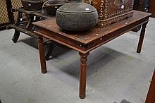 Teak rectangular table, approx 76cm H x 180cm W x