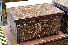 Bone lidded box, approx 32cm H x 61cm L x 38cm D