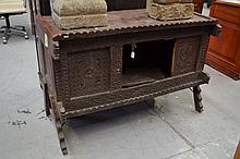 Carved three door cabinet (damaged), approx 88cm H