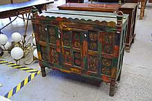 Green & red painted cabinet, approx 106cm H x