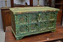 Green painted box, approx 52cm H x 93cm L x 42cm D