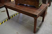 Teak table top, approx 77cm H x 150cm L x 89cm D