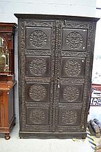 Large black two door cabinet, approx 209cm H x