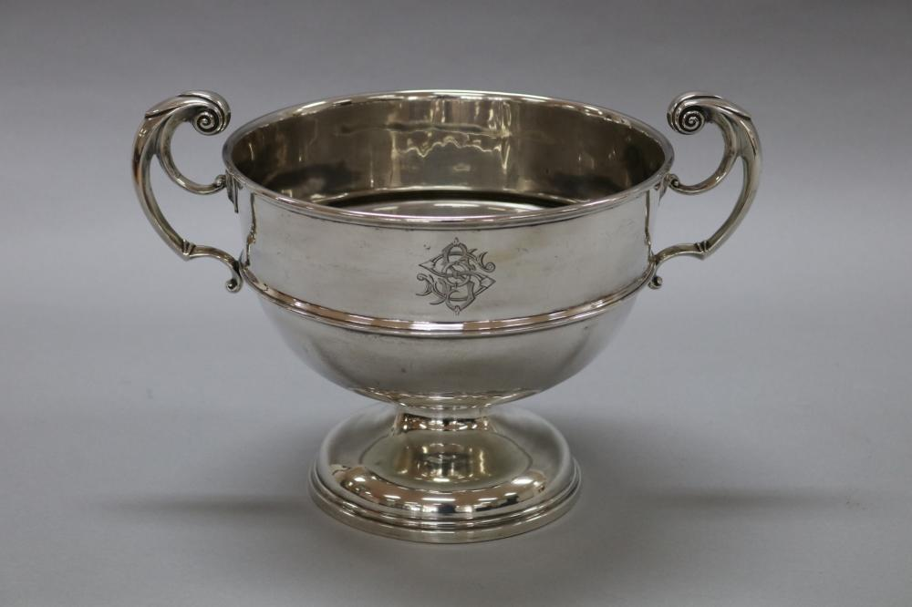 Antique hallmarked sterling silver twin handle rose bowl / trophy cup, inscribed initials, London, 1905, by C.S. Harris & Sons Ltd, approx 22.5cm H x 33cm W (including handles) & 1000 grams