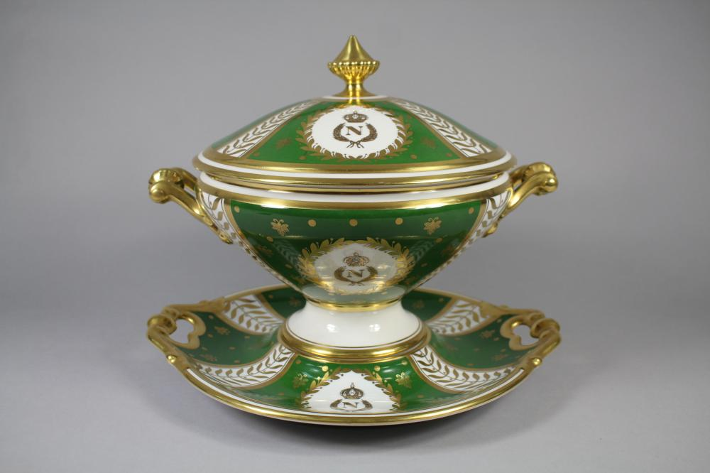 """Large French Limoges porcelain lidded green and gilt tureen and under dish with Napoleon """"N"""" bees and eagle, approx 29cm H x 36cm W x 31cm D"""