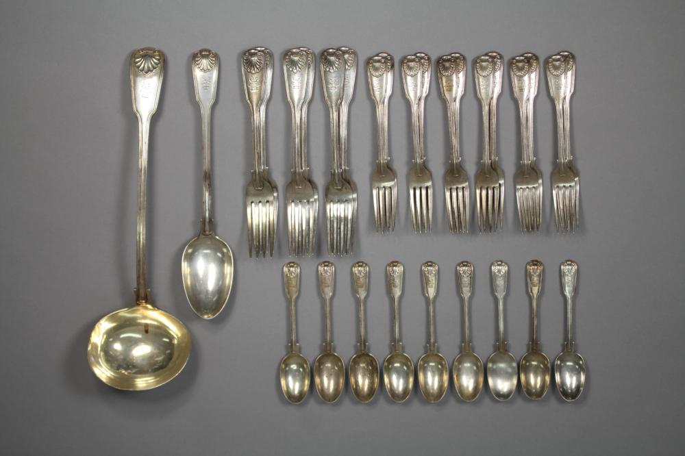 Part antique hallmarked sterling silver Fiddle, Thread and Shell pattern service, to include ladle, basting spoon, forks & spoons, London, 1861 - 1863, by George Adams, approx 2130 grams