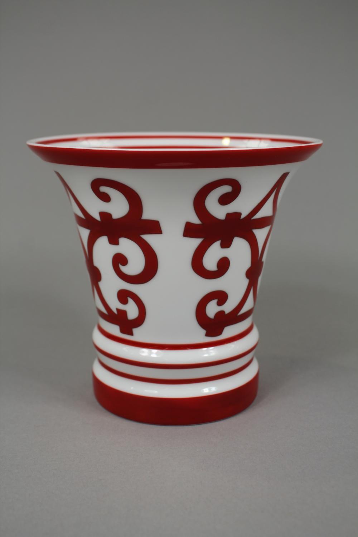 Hermes Balcons du Guadalquivir porcelain vase, approx 13.5cm H x 15cm dia