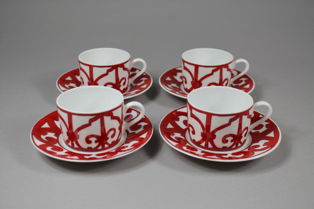 Set of four Hermes Balcons du Guadalquivir porcelain cups and saucers (8)