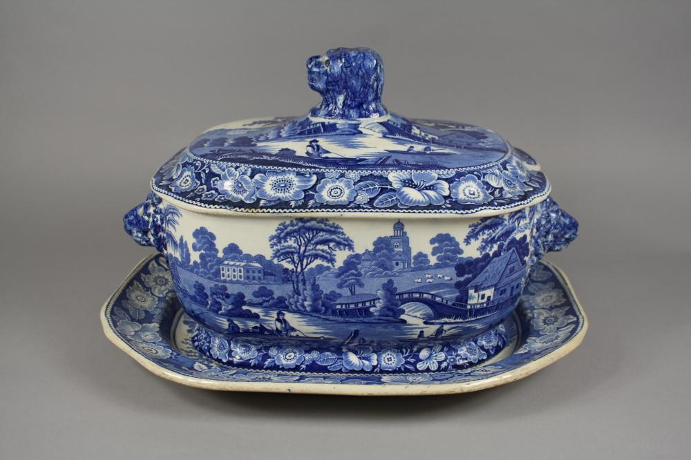 Antique early 19th century Staffordshire blue and white tureen and cover, in Wild Rose Pattern, together with a matching meat plate of similar pattern, tureen 37 cm across (2)
