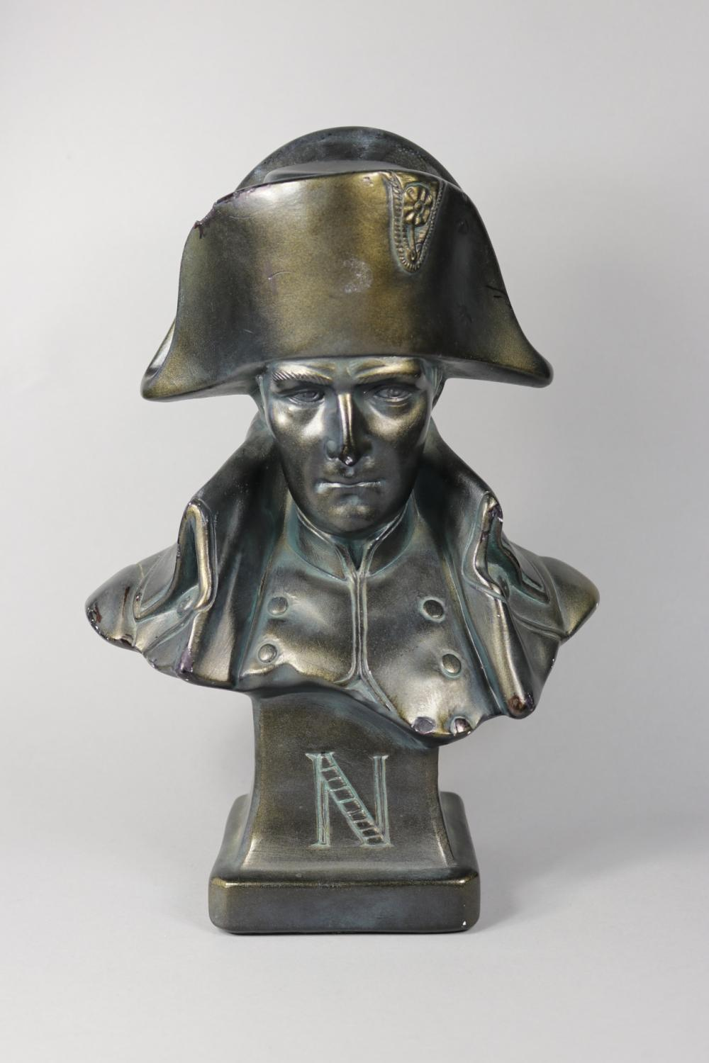 Painted plaster Napoleon bust, approx 35cm H