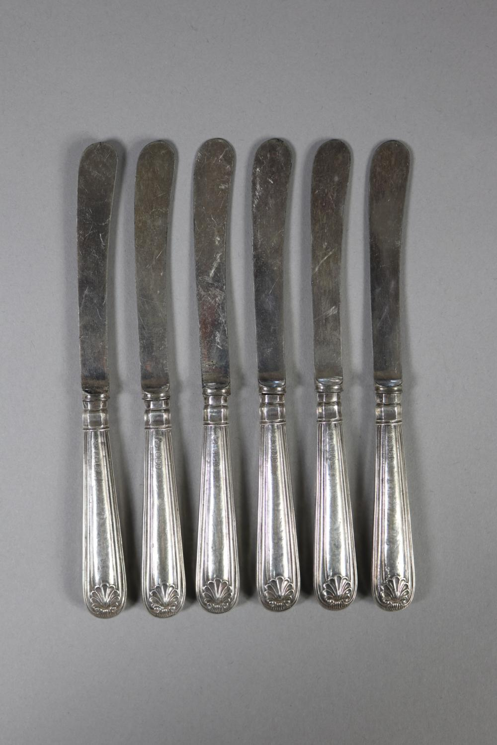 Set of six antique hallmarked sterling silver & steel blade Fiddle, Thread and Shell pattern knives, Sheffield, 1905 - 1906, J.Y makers mark, approx total weight including blades 140 grams (6)