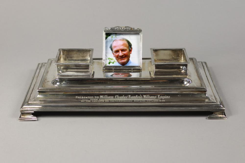 Antique hallmarked sterling silver inkstand, Inscribed, Presented to William Charles Bamford Williams Esquire, Upon The Attainment of his Majority by the Tenants on The Llantannan Estate 17th June, 1906, Sheffield 1905...