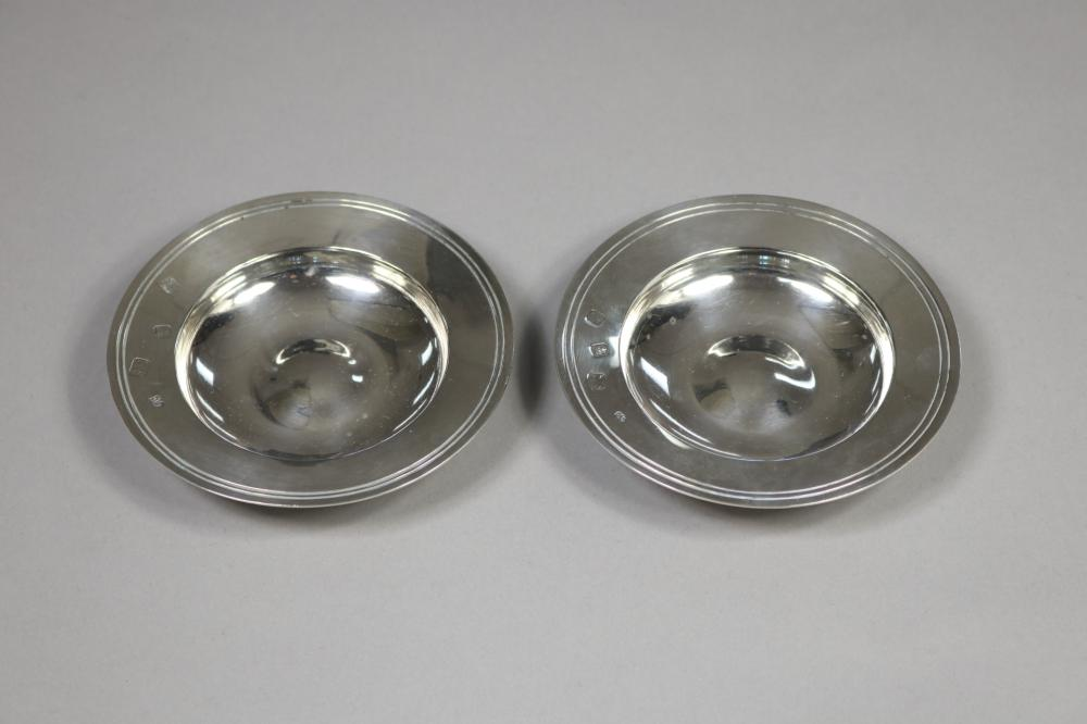 Pair of Armada dishes, hallmarked sterling silver London 1966-67 and 1967-68, marked RC, marked to the back to rim, Lowe and Sons Chester, each approx 12cm Dia and total weight 220 grams