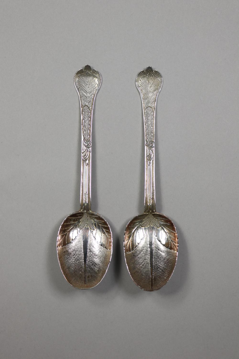 Pair of antique Charles II hallmark sterling silver Trefid Spoons, with later decoration, London 1677, John Smith, approx 105 grams