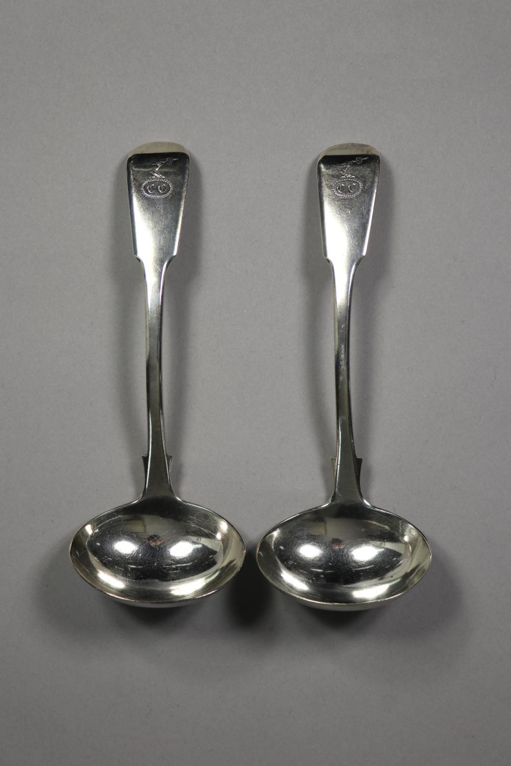 Pair of antique George III hallmarked sterling silver fiddle pattern sauce ladles, monogrammed, London 1820-21, Thomas and George Hayter, approx 125 grams