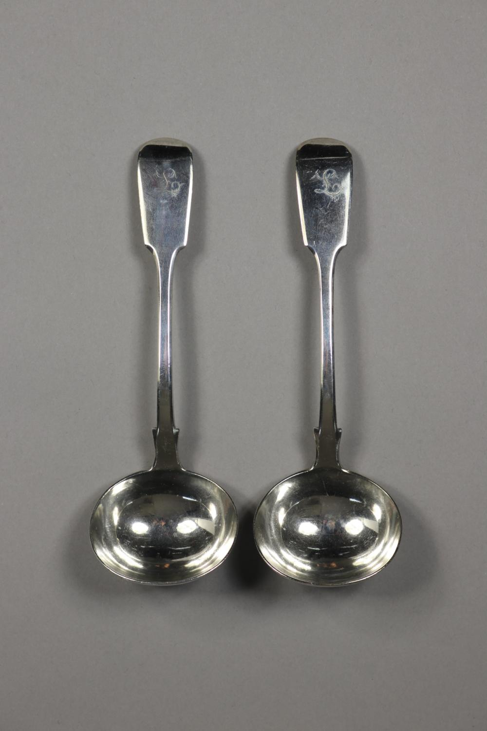 Pair of antique Victorian hallmarked sterling silver, fiddle pattern sauce ladles, monogrammed, London 1849, Chas. Lias, approx 135 grams (2)