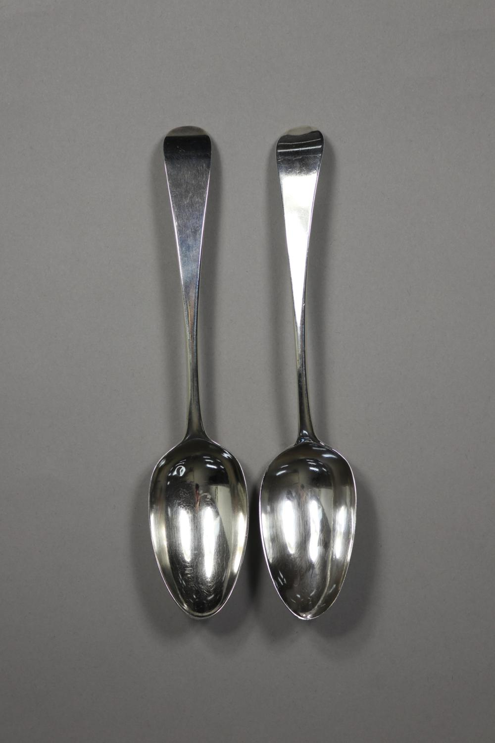 Pair of antique George III hallmarked sterling silver table spoons, London 1776 & 1780, by Hester Batman, approx 115 grams