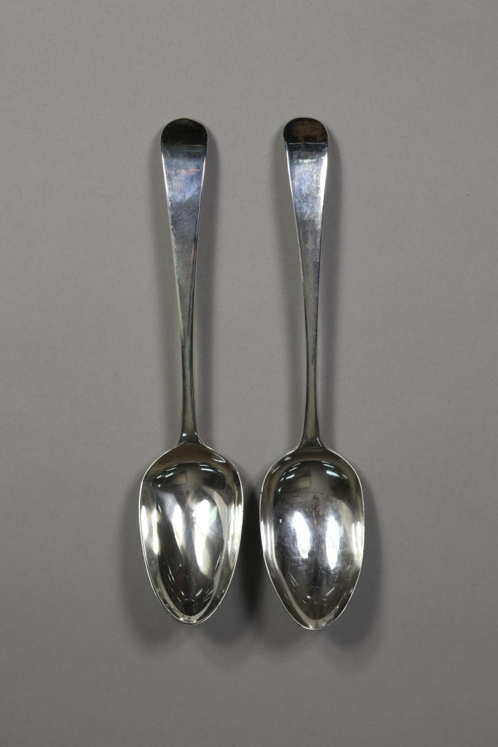 Two antique George III hallmarked sterling silver Old English pattern, London 1791 by Hester Bateman, approx 125 grams