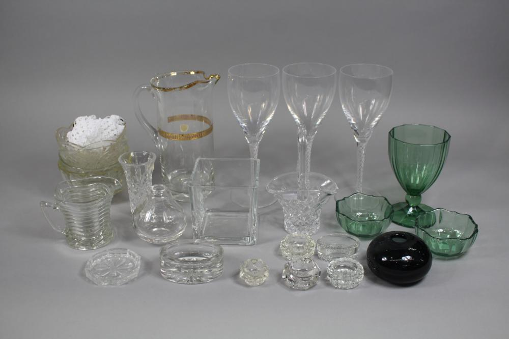 Assortment of glassware to include three Stuart wine glasses, two Villeroy & Boch bowls and glass, Royal Albert crystal vase, etc, approx 23cm H and smaller