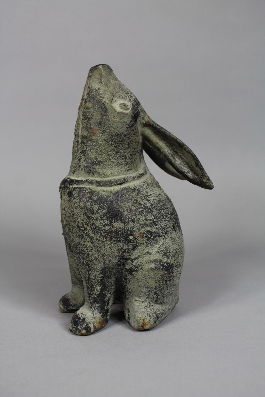 Decorative painted cast iron Rabbit figure, approx 21cm H