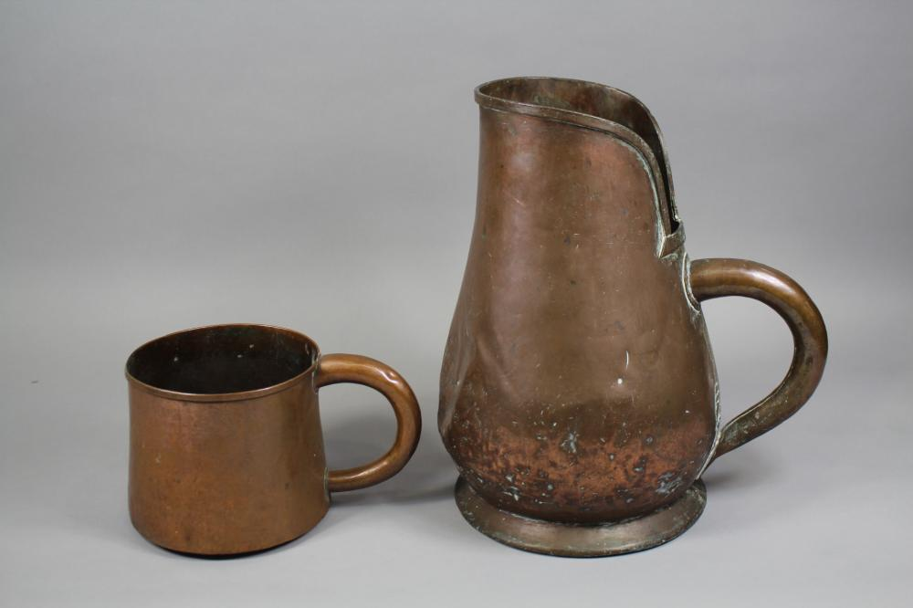 Antique French copper pitcher & mug / measure, approx 40cm H and smaller (2)