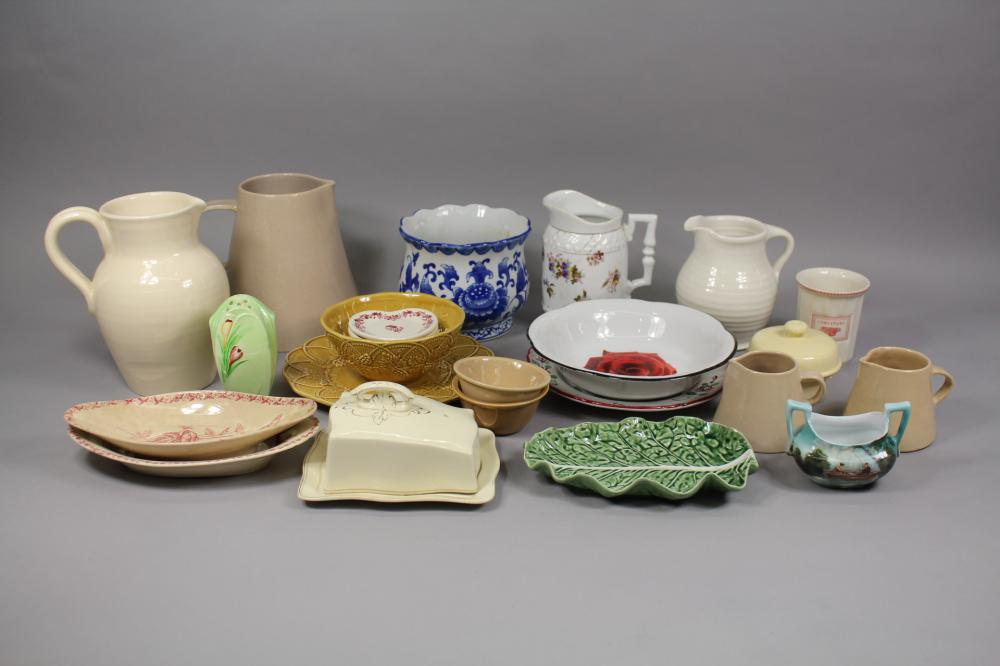 Assortment of antique and vintage  porcelain to include jugs, bowls, plates, cheese bell, etc, approx 21cm H and smaller