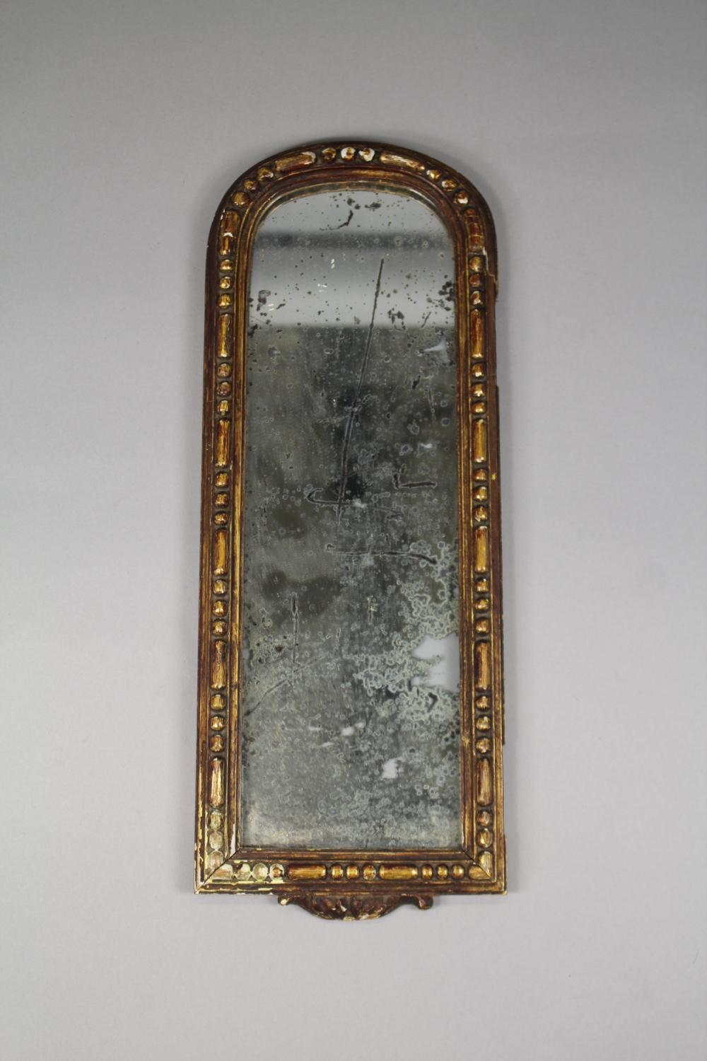 Antique gilt wood arched top small scale mirror, approx 36cm H x 14cm W