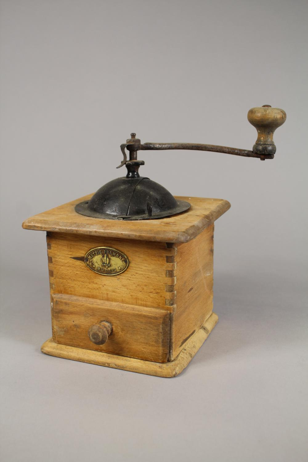 Vintage French coffee grinder, approx 22cm H