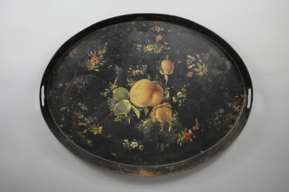 Antique French oval toleware tray, noire painted, floral & fruit painted decoration, approx 61cm x 47cm