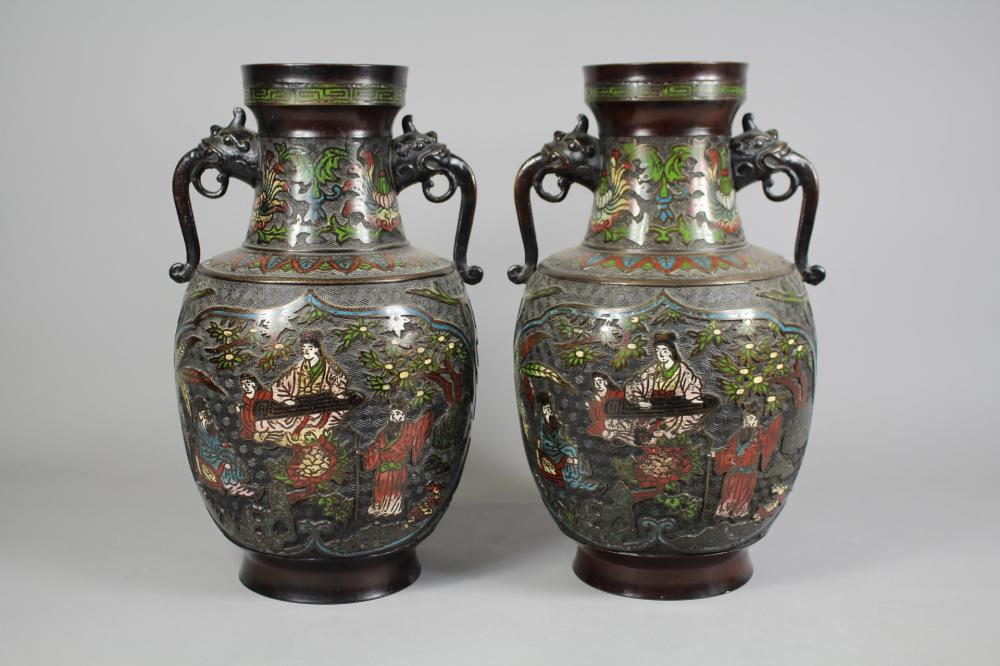 Pair of antique Japanese bronze twin handled vases, each approx 37cm (2)