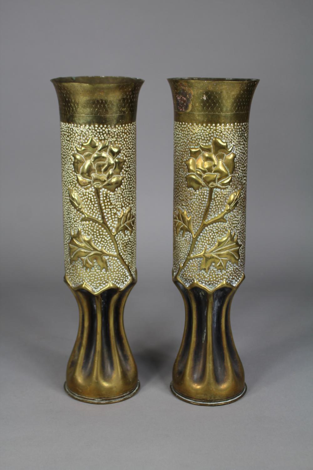 Pair of French WWI trench art brass vases, each approx 34cm H (2)