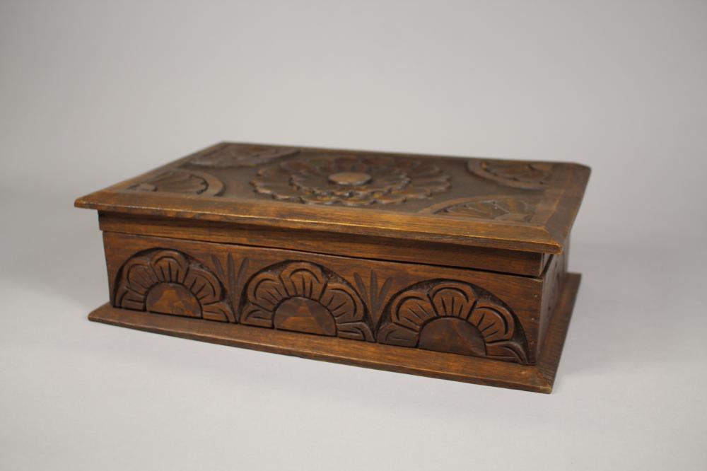 French carved wood trinket box, approx 10cm H x 34cm W x 21cm D
